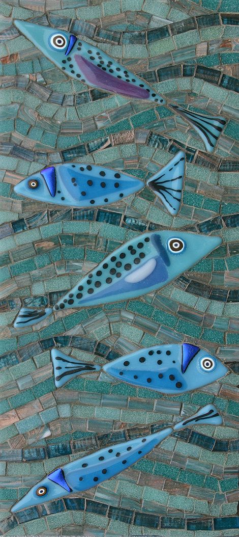Blue Fish by MartinCheekMosaics on Etsy, $55.00 - Nifty idea to use fused glass fish in mosaic