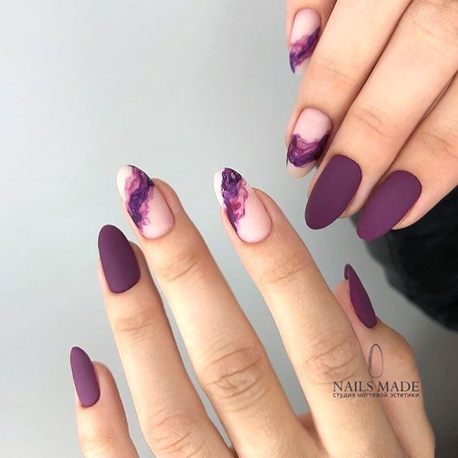 Stunning Mauve Color Nails To Squeal With Delight From Almond Nails Designs Purple Nails Nails