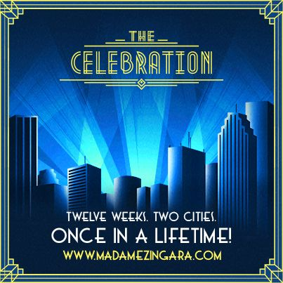 #TheCelebration tour‬ celebrates Madame Zingara's 15th birthday and for this special occasion 35 electrifying artists from around the world will unite to push the boundaries of dinner cirque theatre in a three-storey high handcrafted mirrored palace.
