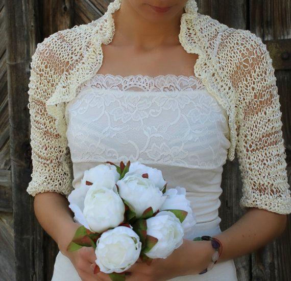 Avorio da sposa cotone seta Bolero, donna sposa scrollata di spalle, mano a maglia cotone maniche di seta, cotone avorio seta si stringe nelle spalle, Eco Friendly, cotone Shrug
