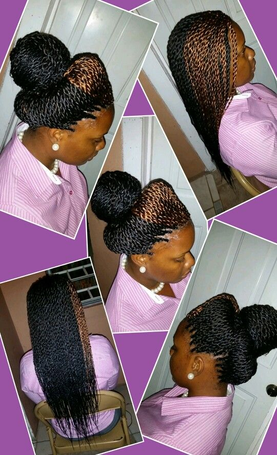 Small senegalese twist braids, unique n classy style.