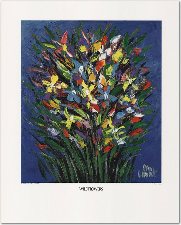 PRO HART PERSONALLY SIGNED PRINT  WILD FLOWERS  LAST ITEM I HAVE!