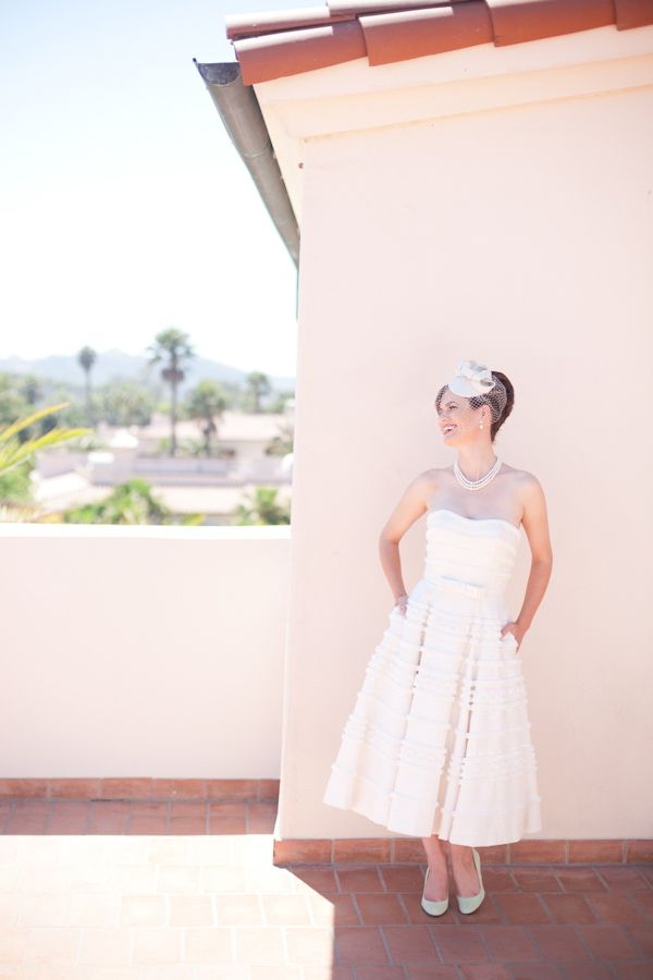 Melissa Sweet wedding gown. Tea length. Perfect throwback dress! Beautiful hairpiece with small veil.
