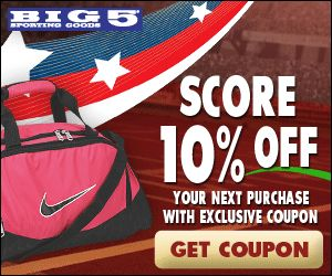 10% Off Entire Purchase At Big 5 Sporting Goods http://www.savingeveryday.net/2012/09/10-off-entire-purchase-at-big-5-sporting-goods-2/