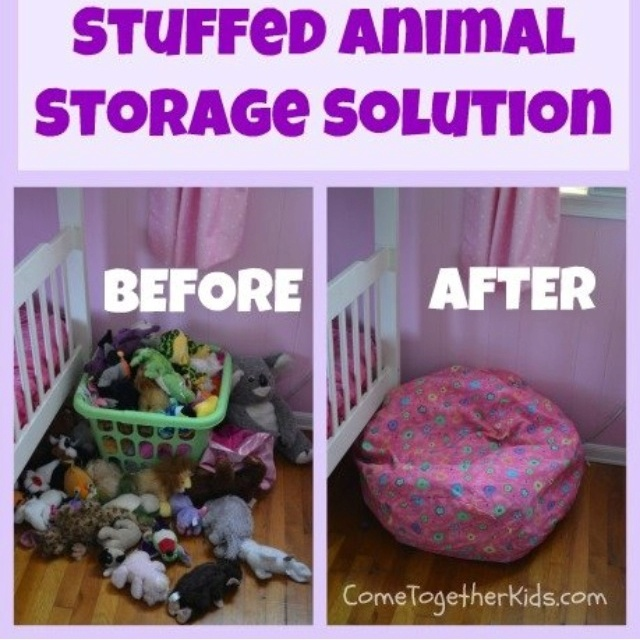 Finally stuffed animal storage that doesn't look tacky!  Why didn't I think of that?  www.cometogetherkids.com