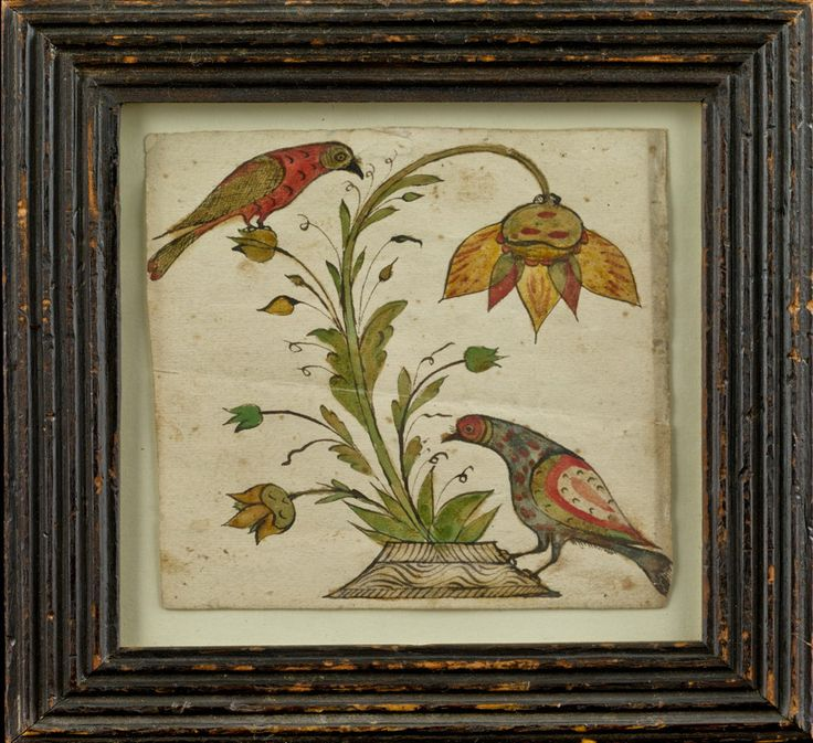 Gift drawing of two birds and a flower   Pennsylvania, circa 1800  Ink and watercolor on paper, 4 ¼ x 4 inches, framed.   PROVENANCE: Collection of Barry Cohen; David A. Schorsch and America Hurrah; Private collection; Alderfer Auctions, April 18, 2006.  PUBLISHED: David A. Schorsch and America Hurrah, The Barry Cohen Collection (New York, 1990,) p. 19.   Est. $ 800-$ 1,200