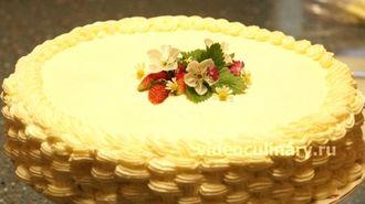 Украшение торта - плетеная корзинка из крема от видеокулинария.рф