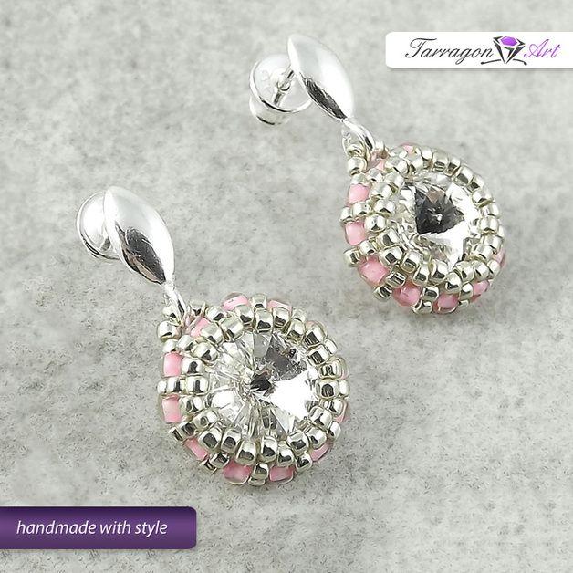 Kolczyki Beaded - Crystal & Pink,  Kolczyki wkrętki od Tarragon Art