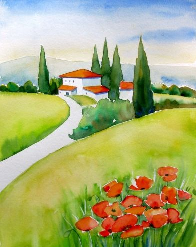 """""""Tuscany Poppies"""" Watercolor Painting by Meltem Kilic © Meltem Kilic, painting by artist Meltem Kilic"""