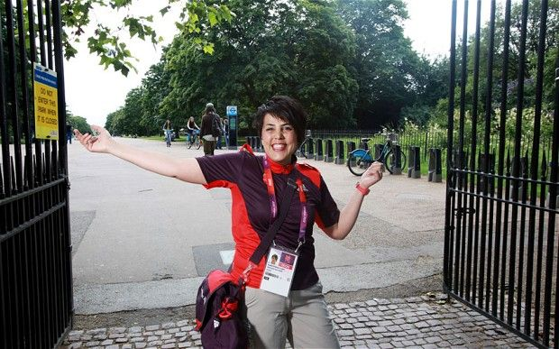 Welcome: Sepi Roshan, wearing an official Olympic volunteer uniform and standing in Hyde Park, London, where she will be working as an Olymp...