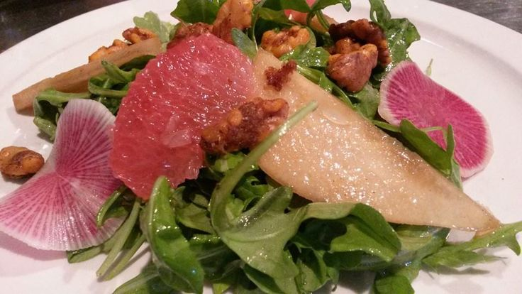 B. Matthew's Arugula Salad with spiced pears, watermelon radish, grapefruit, & spicy walnuts--you can add salmon, chicken, or shrimp as well!