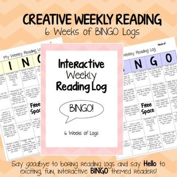 Creative weekly reading log for elementary students - Bingo reading log!