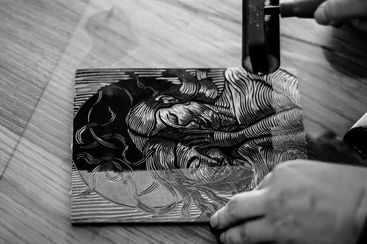 #inking #linocut plate made by @lisedmarquez_arts