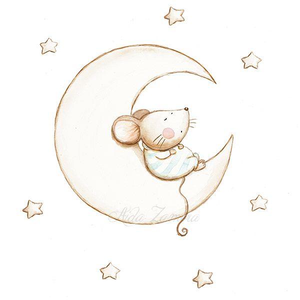 Ilustración infantil ratón durmiendo en luna