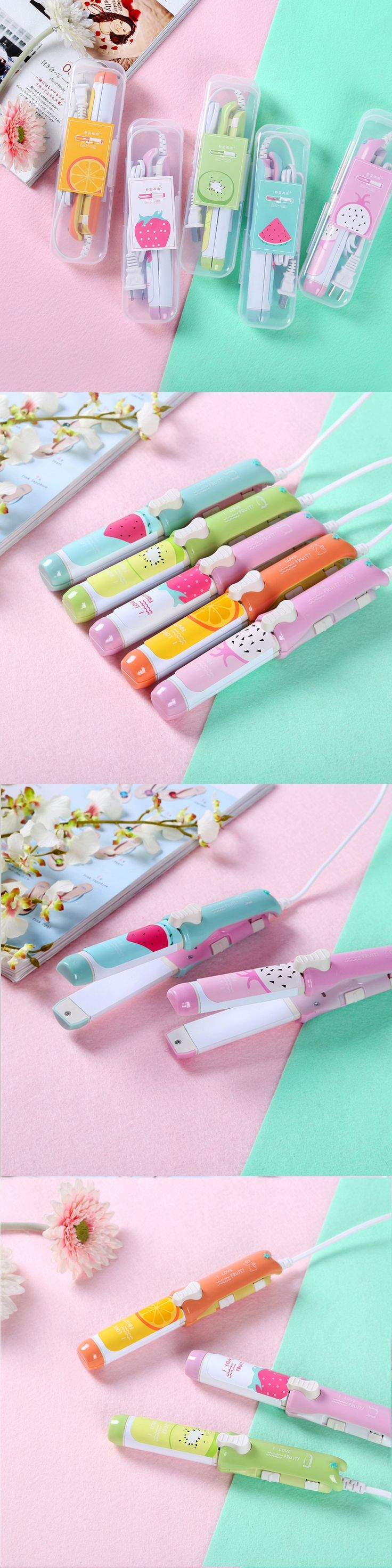 At Fashion 220V Electric Hair straightener Mini hair curling irons Travel hair tools Cute Candy Color Flat Iron drop shipping
