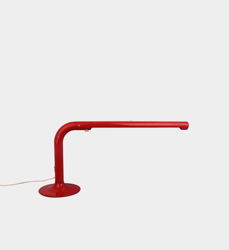 """K. Anders Pehrson [1912 - 1982 r.] Sweden, Atelje Lyktan, 1975  Desk lamp """"Red tube""""  Dimensions h.40 cm l. 90 cm  #forform #vintage #vintagelamps #lamps"""