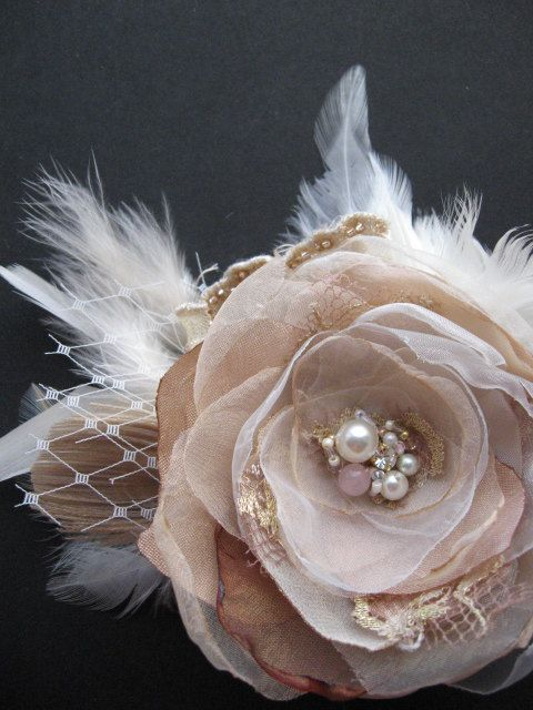 Vintage Rustic Wedding hairpiece bridal fascinator rose flower lace Hair clip Ivory Pale Beige blush pink gold lace pearl rhinestone peacock...