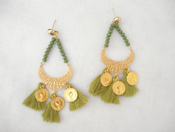 Gold coin tassel chandeliers Green crystal dangles by Poppyg