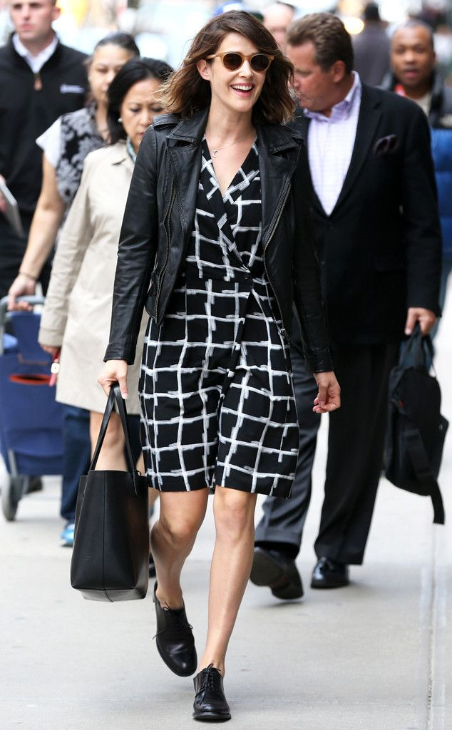 From her modernized plaid dress, to her leather jacket, to her matte amber sunnies, Cobie Smulders dons a quirky-meets-cool style!
