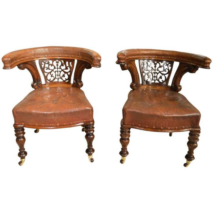 Pair of Mahogany Victorian Period Antique Desk Chairs