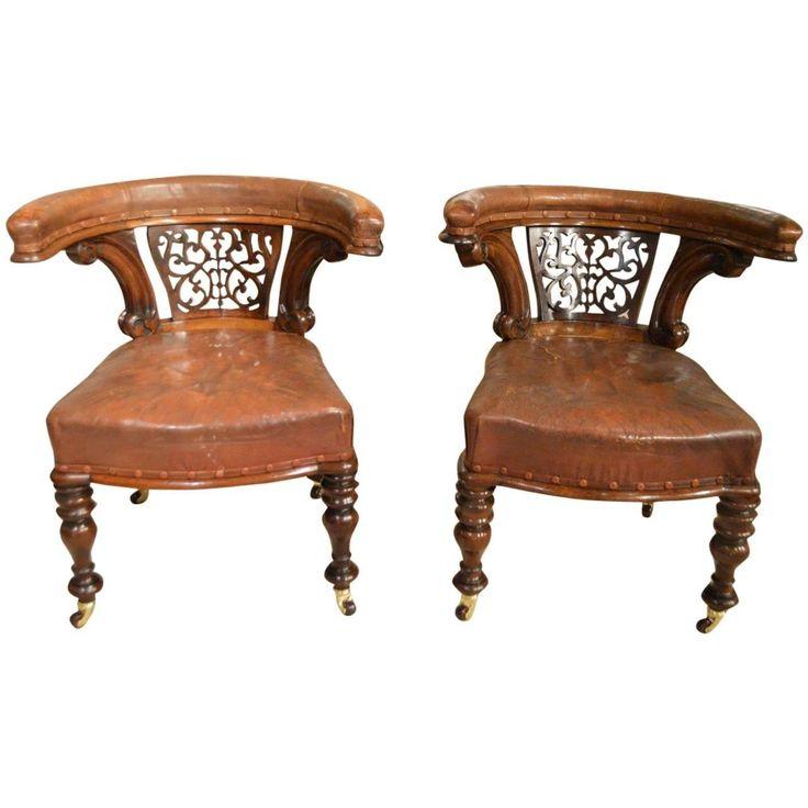 Пара из красного дерева викторианской эпохи антикварный письменный стол стулья