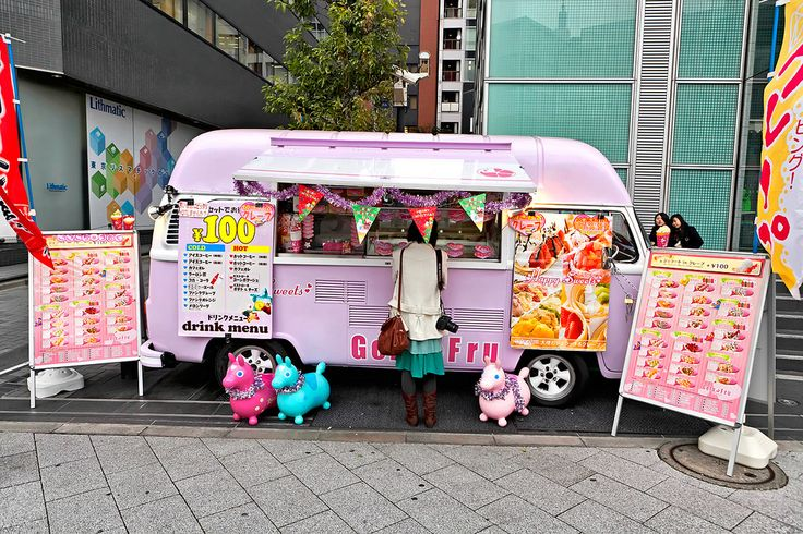 "uteki: "" Pink Crepes & Gelato Van in Tokyo (by tokyofashion) """