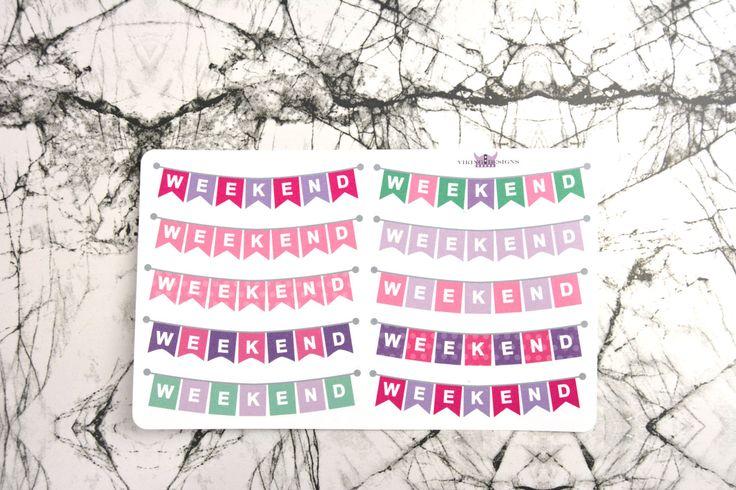 weekendbanner stickers/ Pink weekendbanner by VikingDesigns1 on Etsy