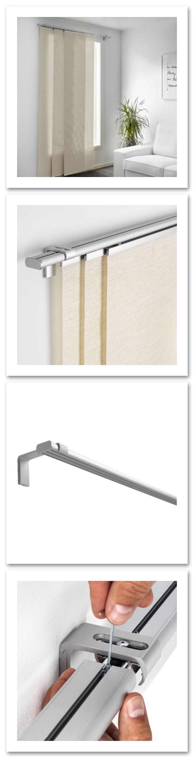 Floor to ceiling curtains on ikea kvartal curtain rail system build a - Kvartal Triple Curtain Rail 55 Each 20 Attach Multiple Rails With L Bracket Hardware