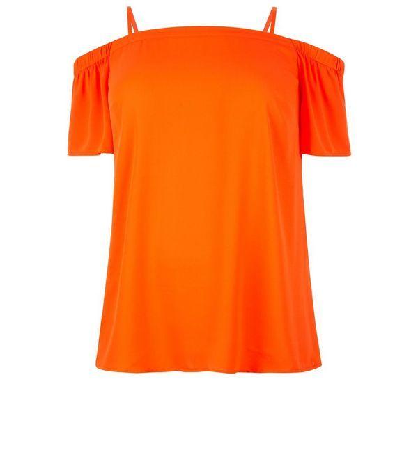 Plus Size Orange Bardot Neck Top | New Look