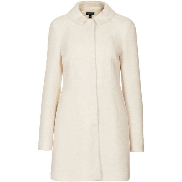 TOPSHOP Boiled Wool Skirted Coat (1 500 UAH) ❤ liked on Polyvore featuring outerwear, coats, jackets, topshop, coats & jackets, cream, cream coat, boiled wool coat and topshop coat