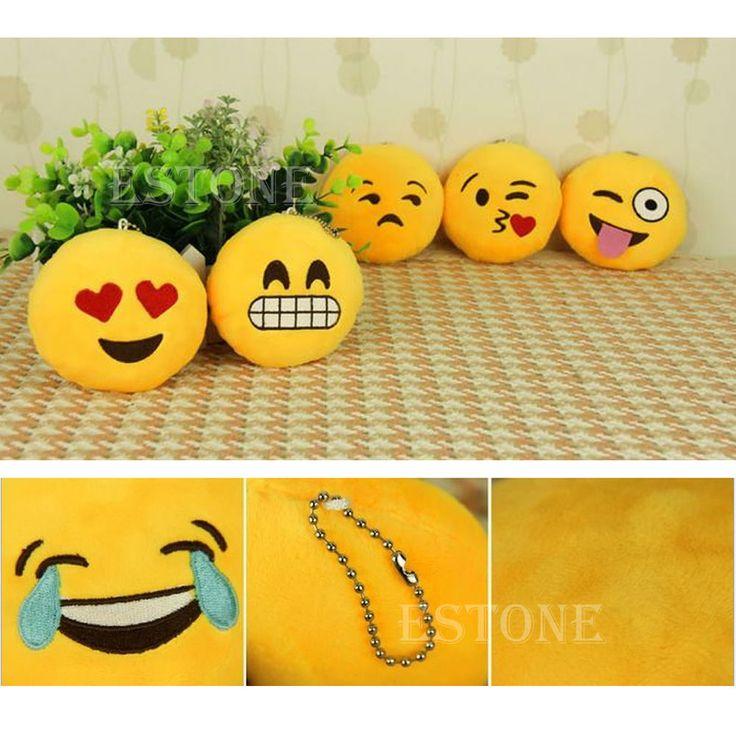Yellow Cute Soft Phone Emoji Emoticon Cushion Stuffed Plush Toy Key Chain New