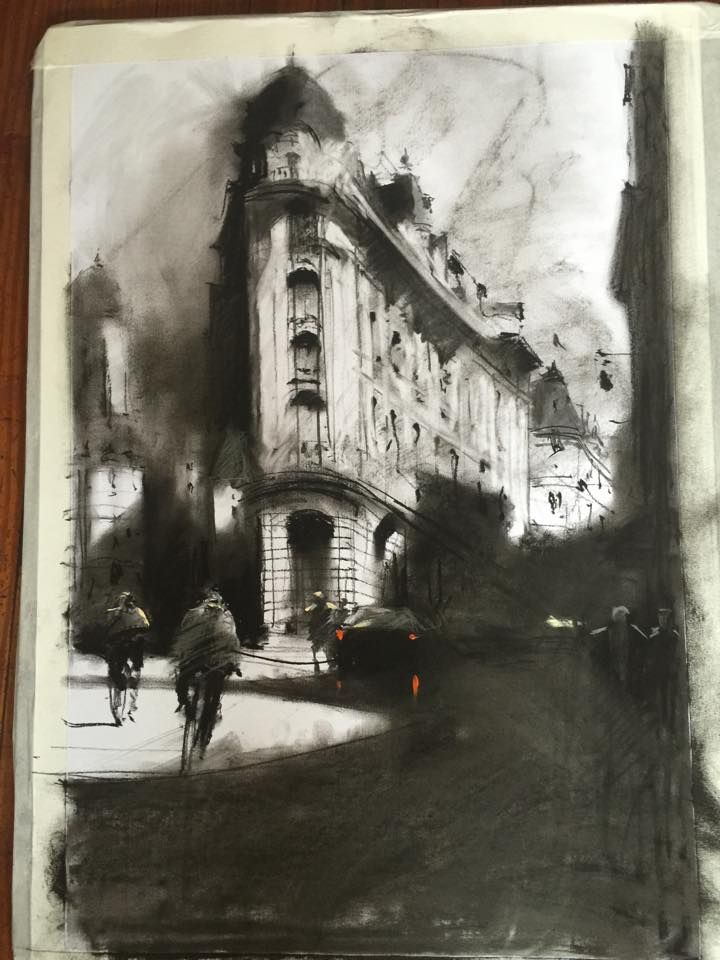 Great charcoal drawing, again here people have been used to give the drawing some scale. The use of shadows is really well done as you can see and the contrast and the building's texture and volume is shown through the hatchings.