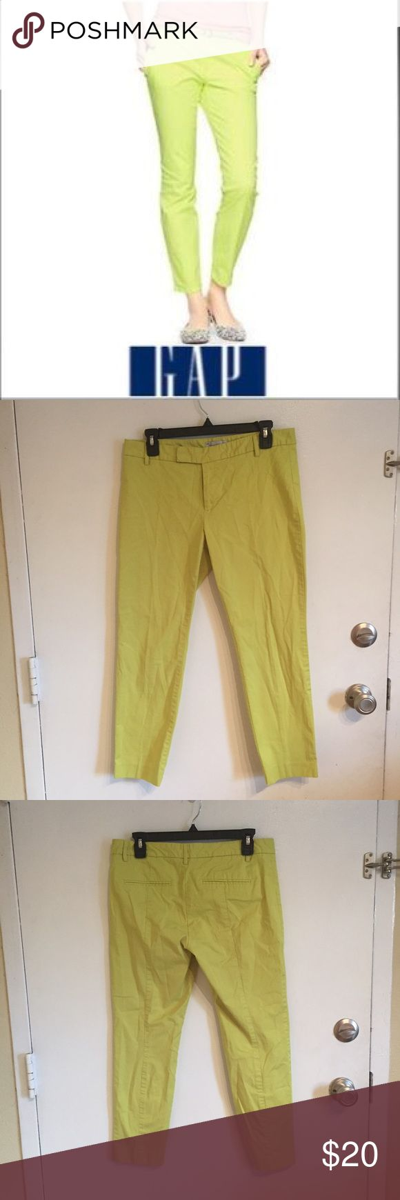 "Gap Slim Cropped Neon Pants Gap slim cropped neon yellow/green pants. 25"" inseam. Size 8 stretch.  #gap #slim #cropped #neon #capri #pants #colorful #bright #spring #stretch #punkydoodle  No modeling Smoke free home I do discount bundles GAP Pants Ankle & Cropped"
