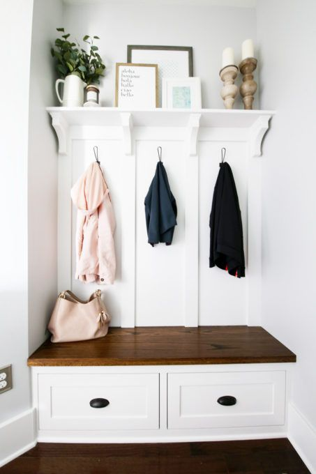 This Built In Mudroom Bench Shelf And Coat Hooks Totally Transformed The E Creating An Organized That Is Also Beautiful Practical