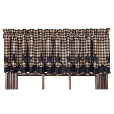 Our Navy Star Scalloped Layered Lined Valance will add primitive country to your home with its star bordered pattern. https://www.primitivestarquiltshop.com/products/navy-star-scalloped-layered-lined-valance #countrystylecurtains