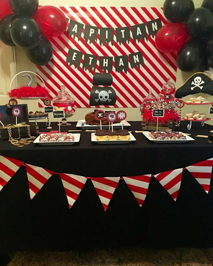 Pirate birthday party dessert table! See more party ideas at CatchMyParty.com!