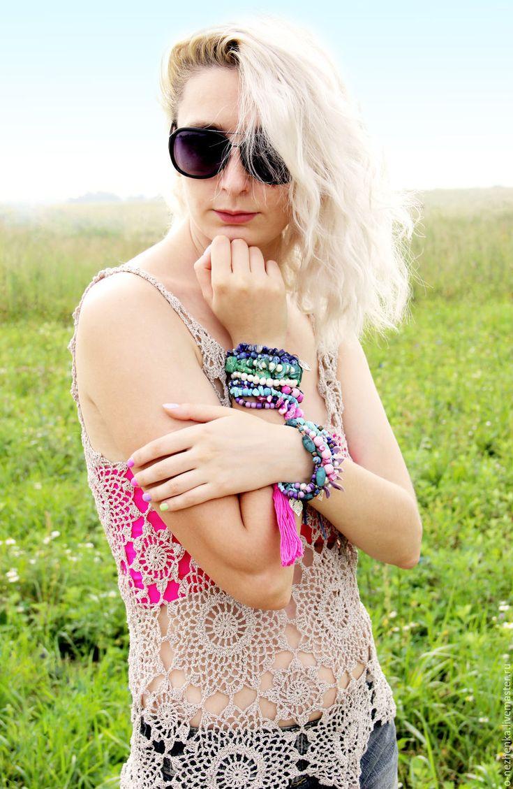 """Купить Браслет """"Голубые Гавайи"""" - комбинированный, браслет, Браслет ручной работы, браслет из камней"""