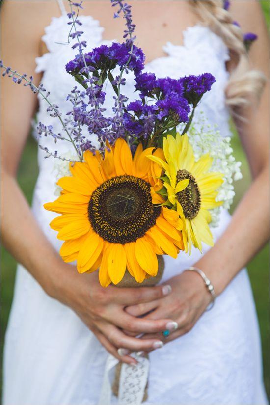 sun flower and wild flower bouquet | bohemian wedding ideas | purple and yellow | #weddingchicks