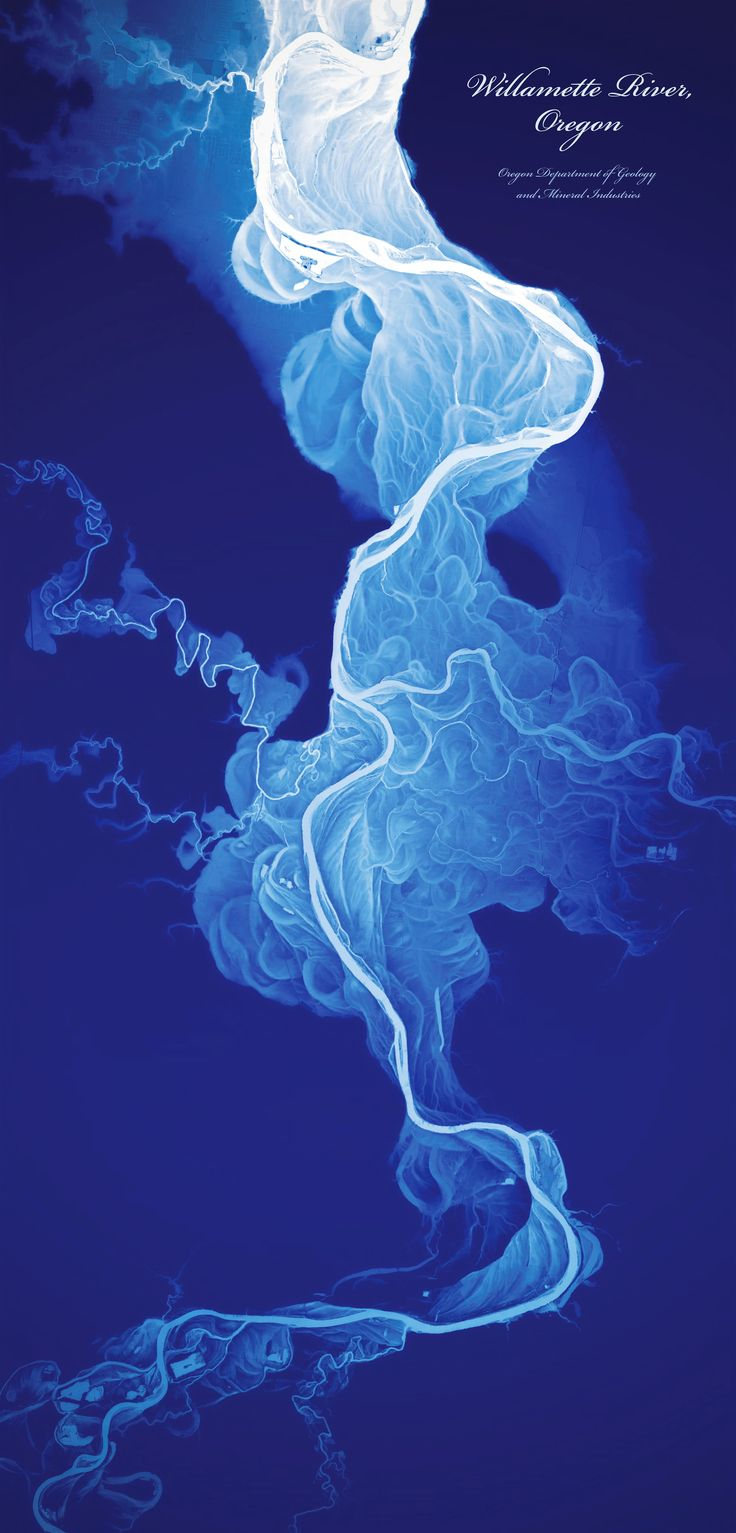 Willamette River, by Daniel E. Coe of the Oregon Department of Geology and Mineral Industries, displays a 50-foot elevation range, with lower elevations shown in white and higher elevations in dark blue. Coe used LIDAR data to make the map; he writes that he was inspired by maps of the Mississippi River made by Harold N. Fisk for a 1944 Army Corps of Engineers study. From Atlas of Design.