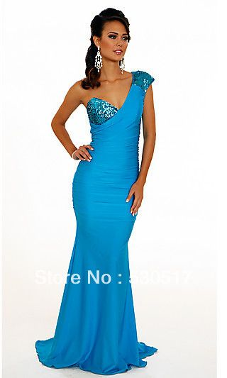 2013 new arrival Plus size blue A line one shoulder Sequin asymmetrical floor length chiffon lady's evening party dress $105.99