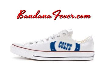 Converse Low White Indianapolis Colts by by BandanaFeverDesigns