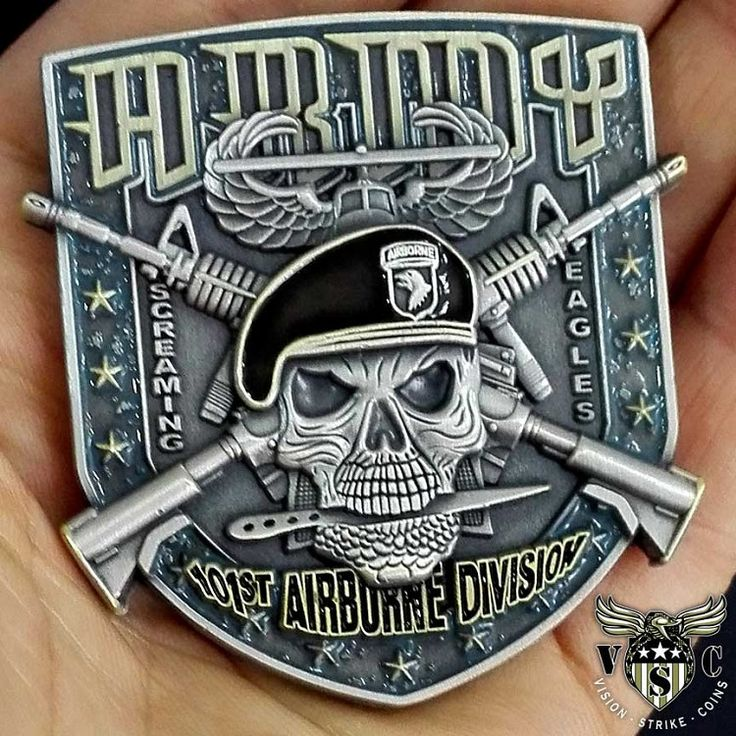 US Army 101st Airborne Division Screaming Eagles Military Challenge Coin Double Sided 2 Inch Diameter Pewter Lead Free
