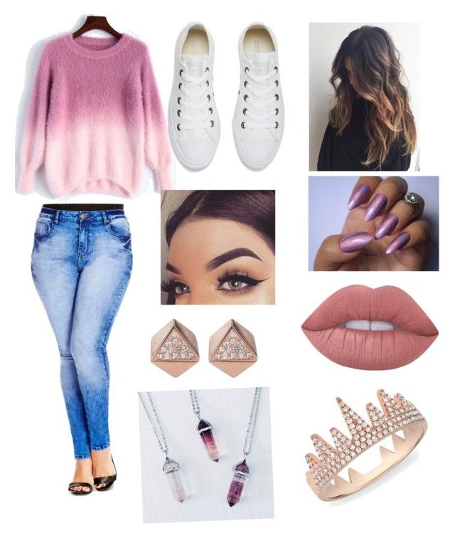 """""""Slay ootd"""" by jaraujo3 on Polyvore featuring City Chic, Converse, Lime Crime, FOSSIL and Anne Sisteron"""