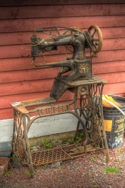 Singer Sewing a la Harbour Grace | Flickr - Photo Sharing! This machine has been used for industrial work, stitching leather shoes perhaps?