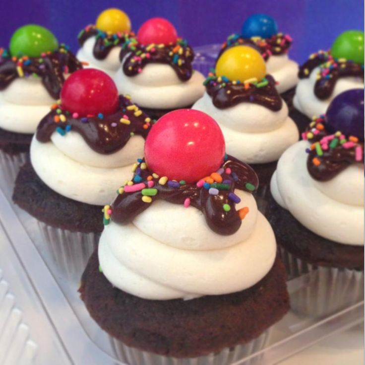 A new creation has arrived at Cakegoodness!  #Chocolate #sundae #cupcakes topped off w/ a gum-ball