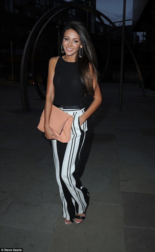 Celebrating solo? Michelle Keegan, 29, looked lovely as she arrived at Ryan Thomas' leavin...