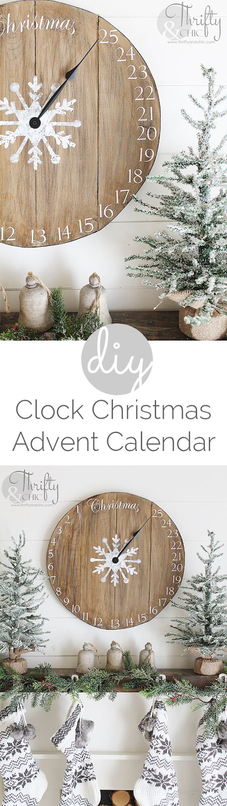 DIY wood clock Christmas advent calendar! Great rustic farmhouse Christmas decor!