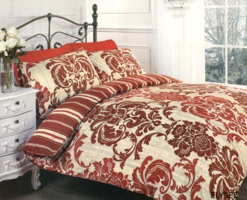 Elysee Red Beige Floral Damask Print King Size Duvet Cover