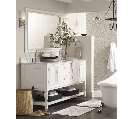 Newport Double Sink Console   Pottery Barn- boys bath- toilet wall