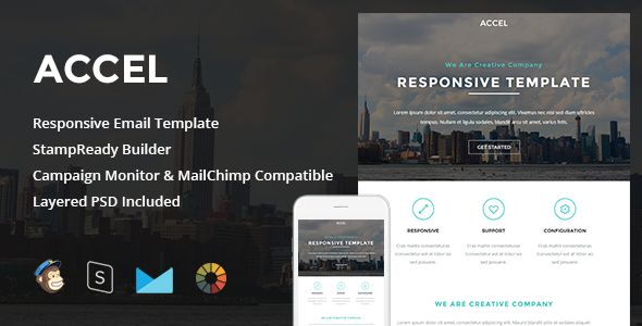 Accel - Responsive Email + StampReady Builder - Newsletters Email Templates